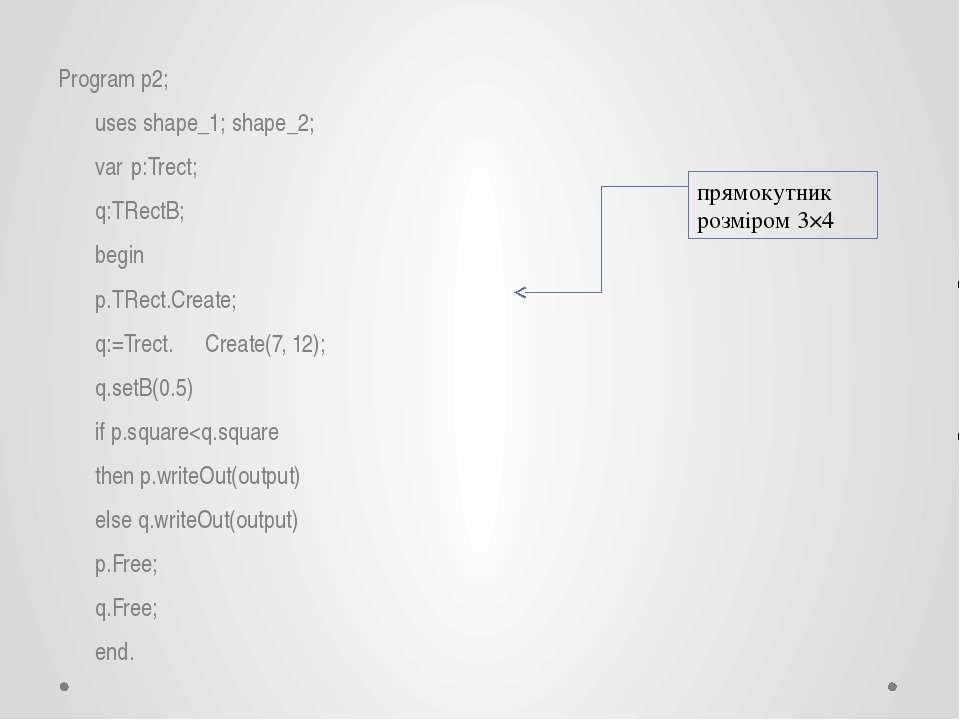 Program p2; uses shape_1; shape_2; var p:Trect; q:TRectB; begin p.TRect.Creat...