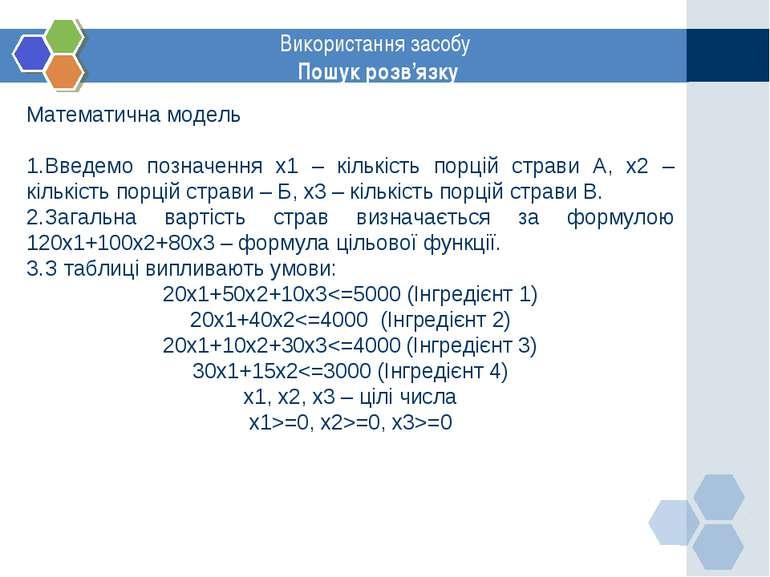 www.themegallery.com Використання засобу Пошук розв'язку Математична модель В...