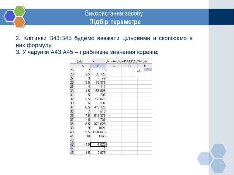 www.themegallery.com Використання засобу Підбір параметра 2. Клітинки В43:В45...