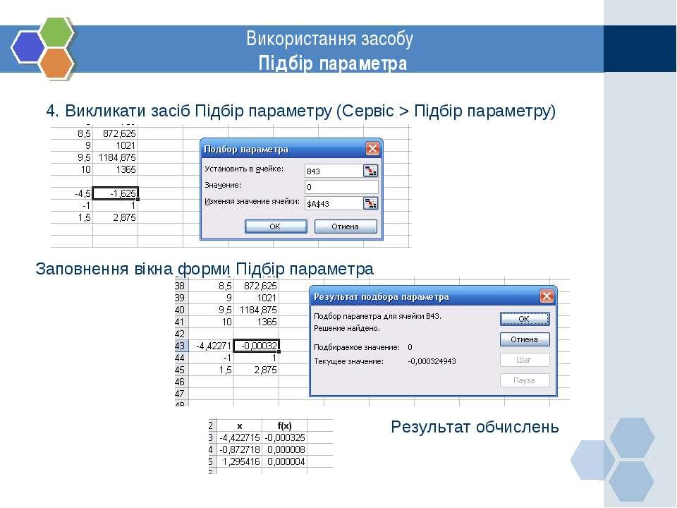 www.themegallery.com Використання засобу Підбір параметра 4. Викликати засіб ...