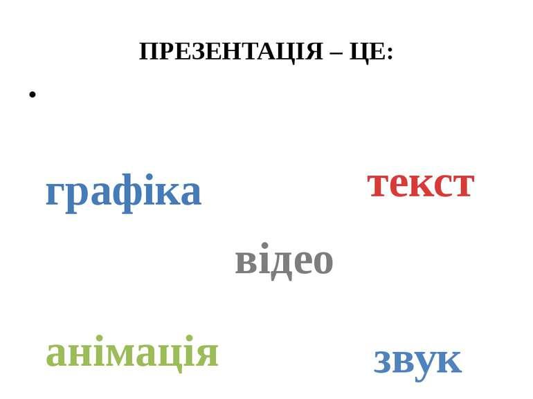 ПРЕЗЕНТАЦІЯ – ЦЕ: використання всіх способів представлення інформації одночас...