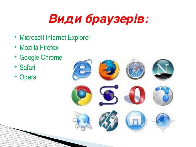 MicrosoftInternet Explorer Mozilla Firefox Google Chrome Safari Opera Смілян...