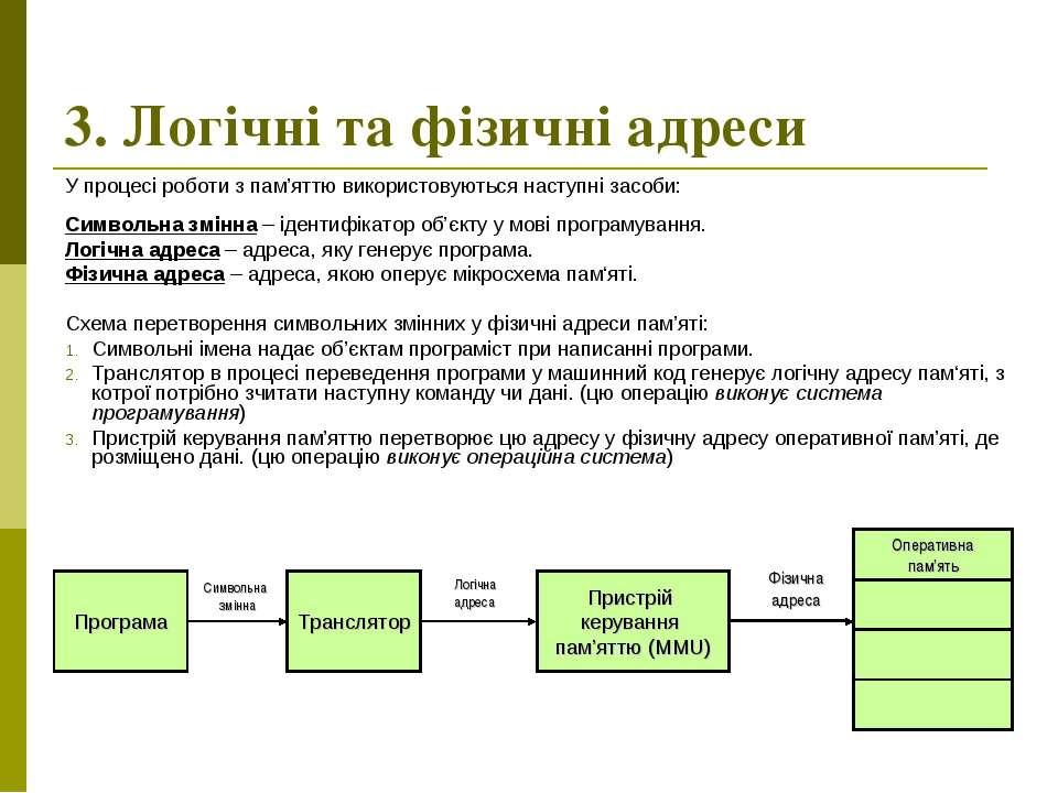 3. Логічні та фізичні адреси У процесі роботи з пам'яттю використовуються нас...