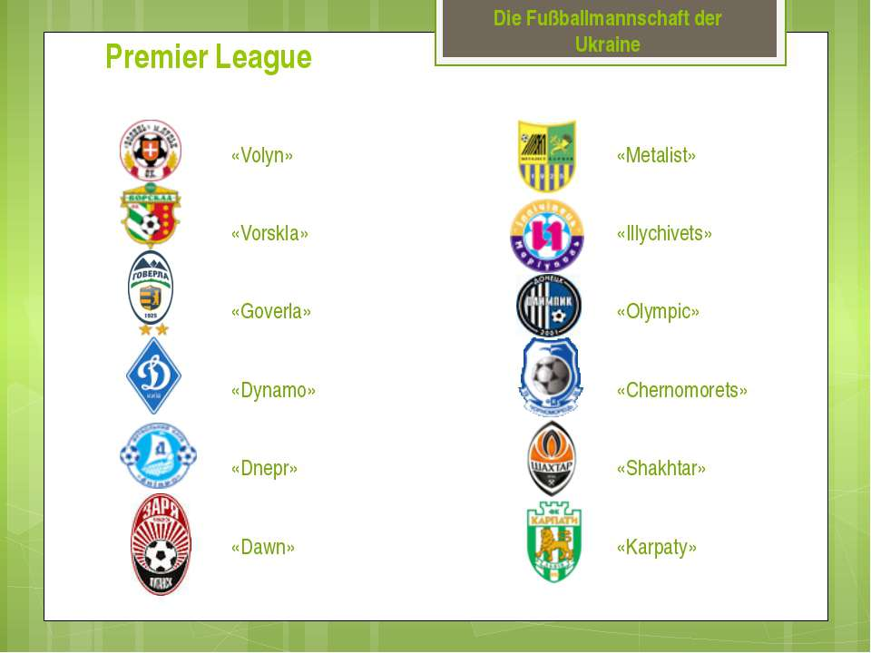 Die Fußballmannschaft der Ukraine Premier League «Volyn» «Vorskla» «Goverla» ...