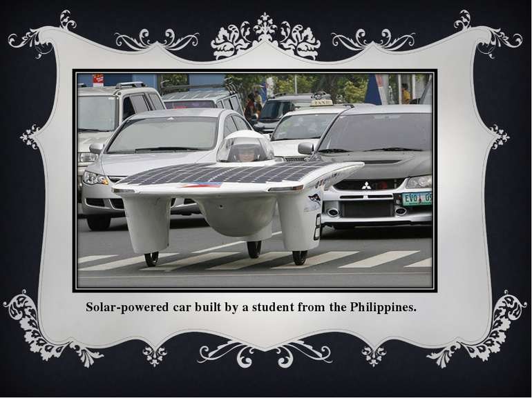 Solar-powered car built by a student from the Philippines.