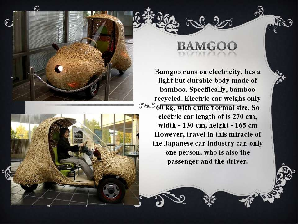 Bamgoo runs on electricity, has a light but durable body made of bamboo. Spec...