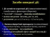 Засоби швидкої дії: β2-агоністи короткої дії (симпатоміметики): сальбутамол, ...
