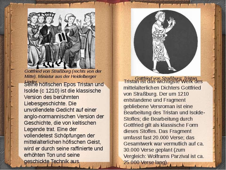 Gottfried von Straßburg (rechts von der Mitte), Miniatur aus der Heidelberger...