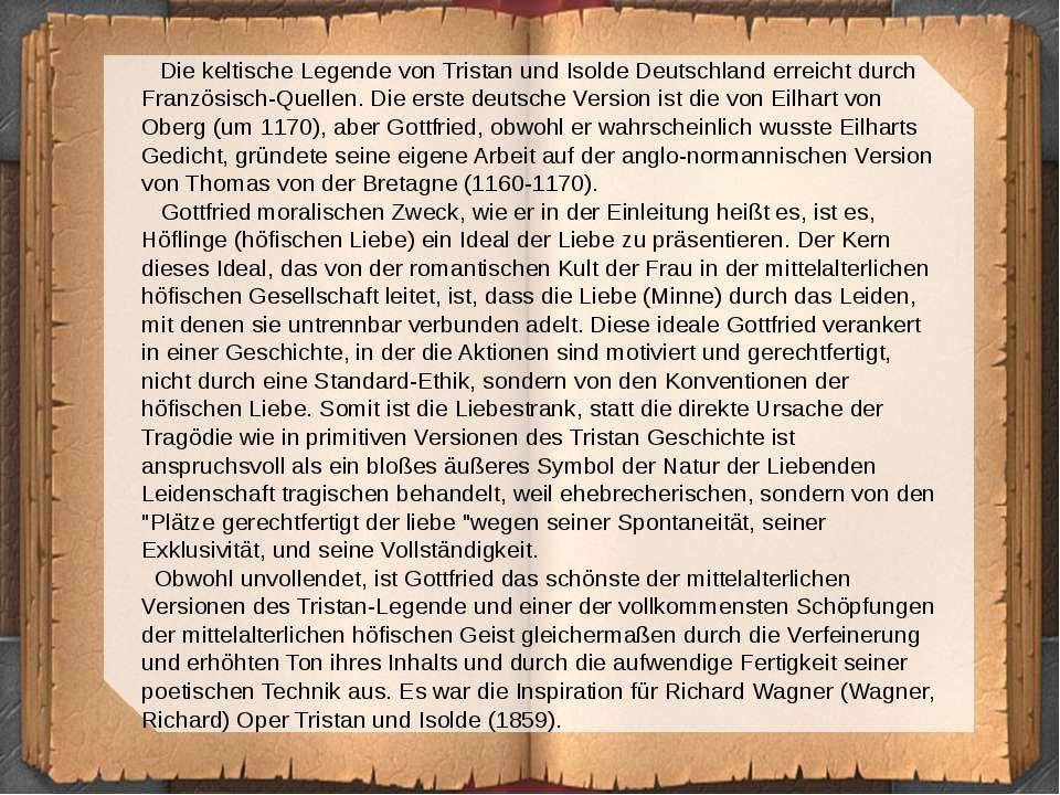 Die keltische Legende von Tristan und Isolde Deutschland erreicht durch Franz...
