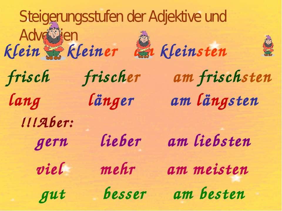 Steigerungsstufen der Adjektive und Adverbien frisch klein kleiner am kleinst...