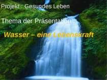 Projekt : Gesundes Leben Thema der Präsentation : Wasser – eine Lebenskraft