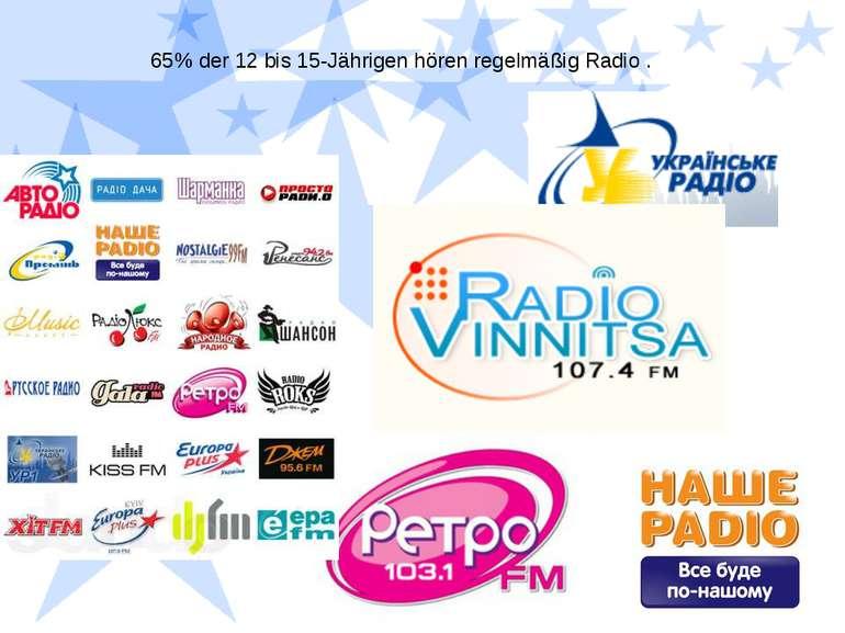 65% der 12 bis 15-Jährigen hören regelmäßig Radio .