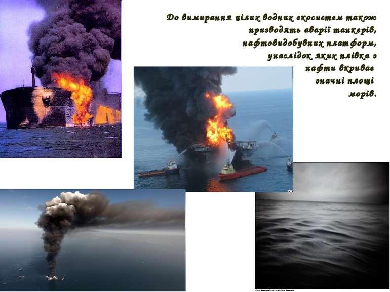 До вимирання цілих водних екосистем також призводять аварії танкерів, нафтови...