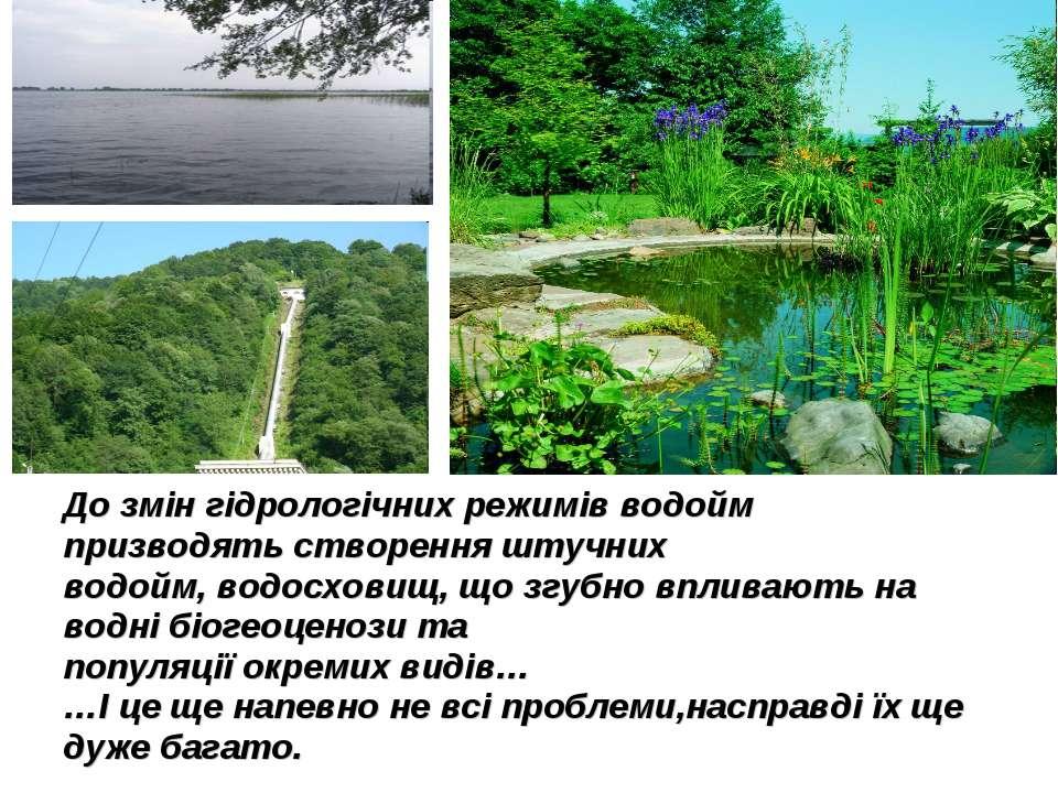 До змін гідрологічних режимів водойм призводять створення штучних водойм, вод...
