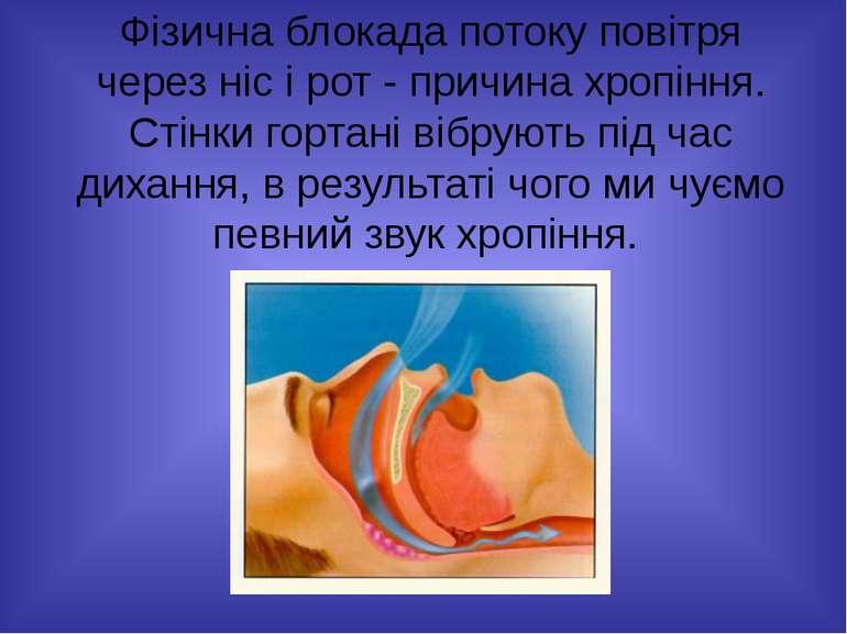 Фізична блокада потоку повітря через ніс і рот - причина хропіння. Стінки гор...
