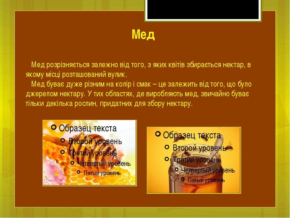 Мед розрізняється залежно від того, з яких квітів збирається нектар, в якому ...