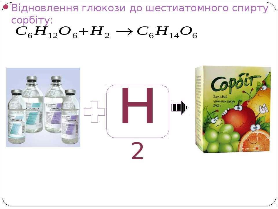 Відновлення глюкози до шестиатомного спирту сорбіту: н2