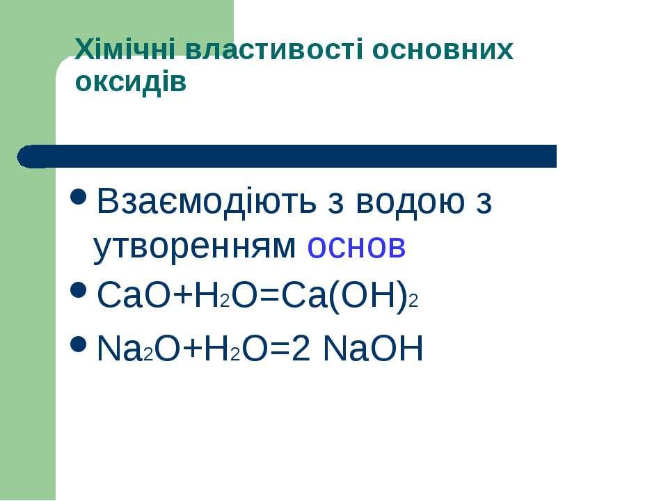 Хімічні властивості основних оксидів Взаємодіють з водою з утворенням основ C...