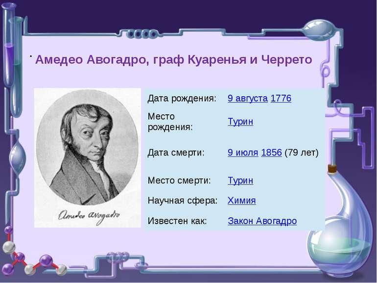 . Амедео Авогадро, граф Куаренья и Черрето Дата рождения: 9 августа1776 Место...