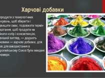 Харчові добавки У продукти з технологічних міркувань, щоб зберегти і підвищит...