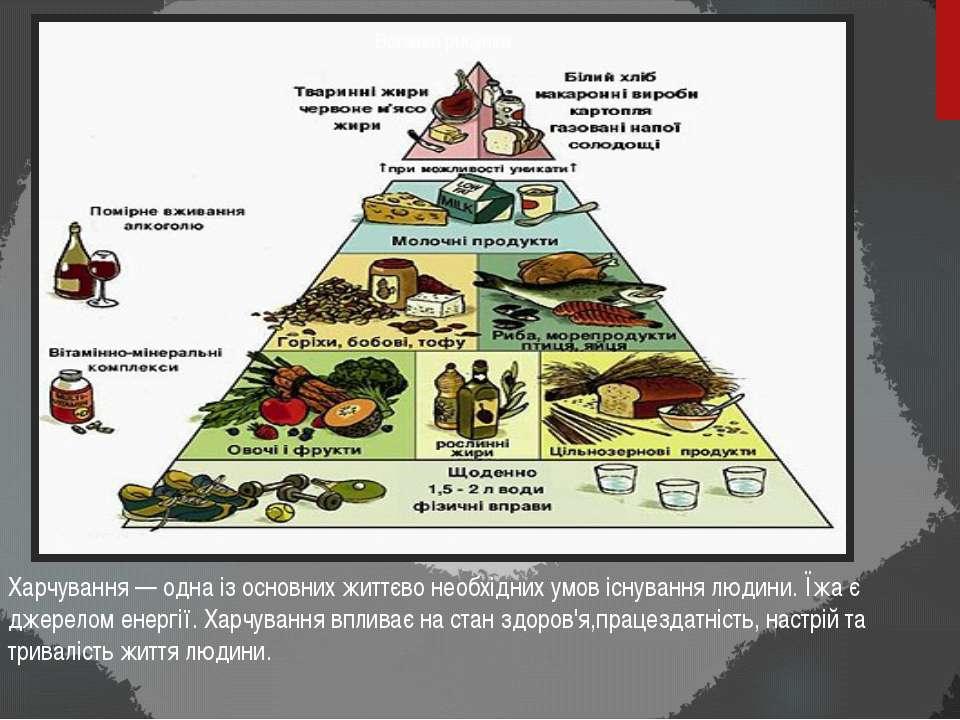 Харчування — одна із основних життєво необхідних умов існування людини. Їжа є...