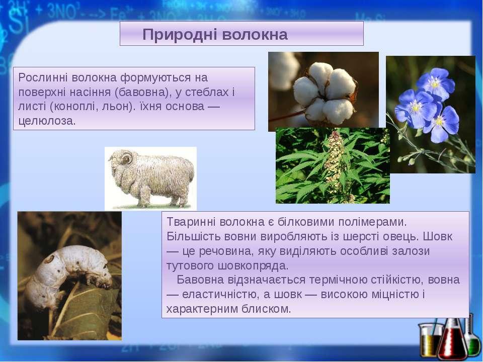 Природні волокна Рослинні волокна формуються на поверхні насіння (бавовна), у...