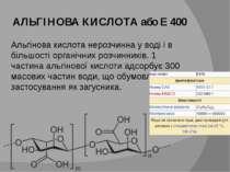 АЛЬГІНОВА КИСЛОТА або Е 400 Альгінова кислота нерозчинна у воді і в більшості...