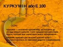 КУРКУМІН або Е 100 Куркумін— основний куркуміноїд, що входить до складу коре...
