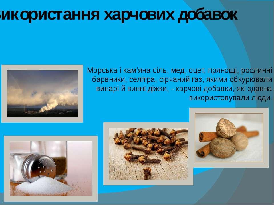 Використання харчових добавок Морська і кам'яна сіль, мед, оцет, прянощі, рос...