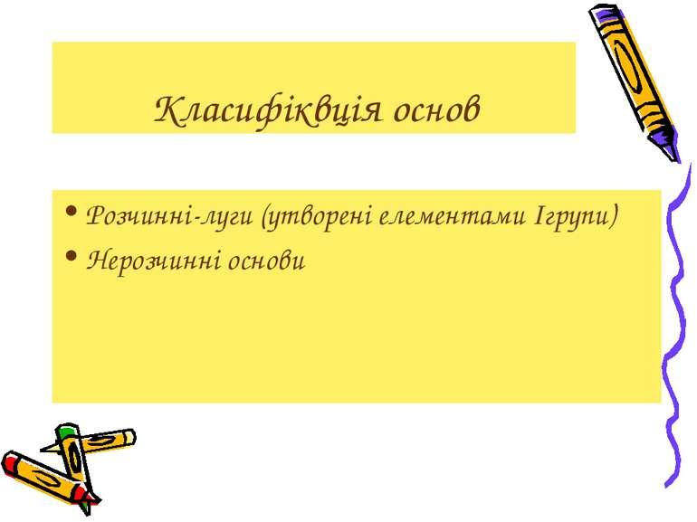 Класифіквція основ Розчинні-луги (утворені елементами Ігрупи) Нерозчинні основи