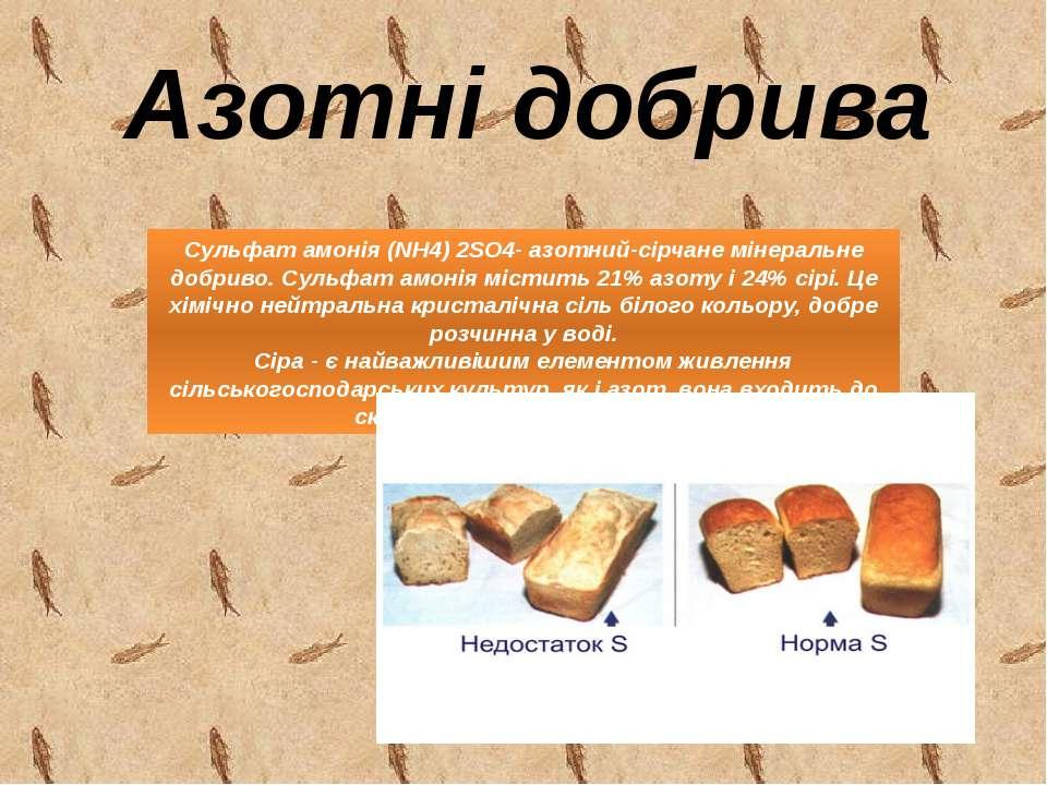 Азотні добрива Сульфат амонія (NH4) 2SO4- азотний-сірчане мінеральне добриво....