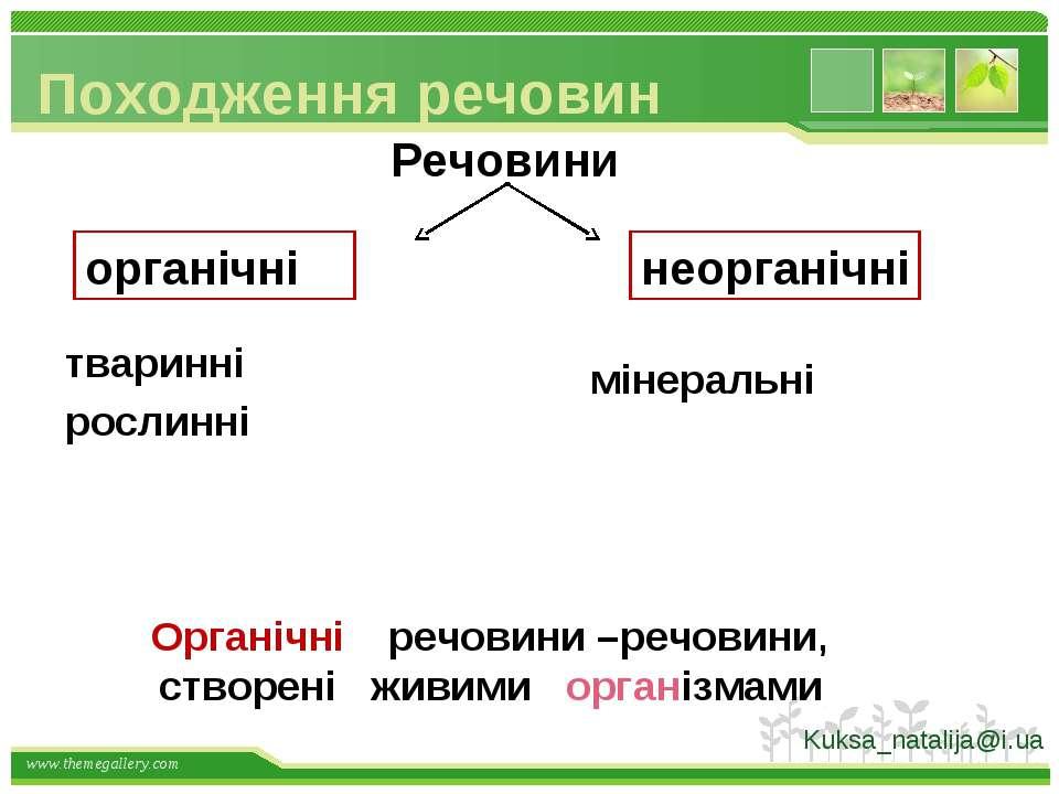 Походження речовин Речовини рослинні мінеральні органічні неорганічні речовин...