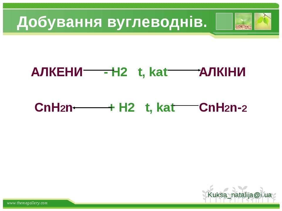Добування вуглеводнів. АЛКЕНИ - H2 t, kat АЛКІНИ СnH2n + H2 t, kat СnH2n-2 Ku...