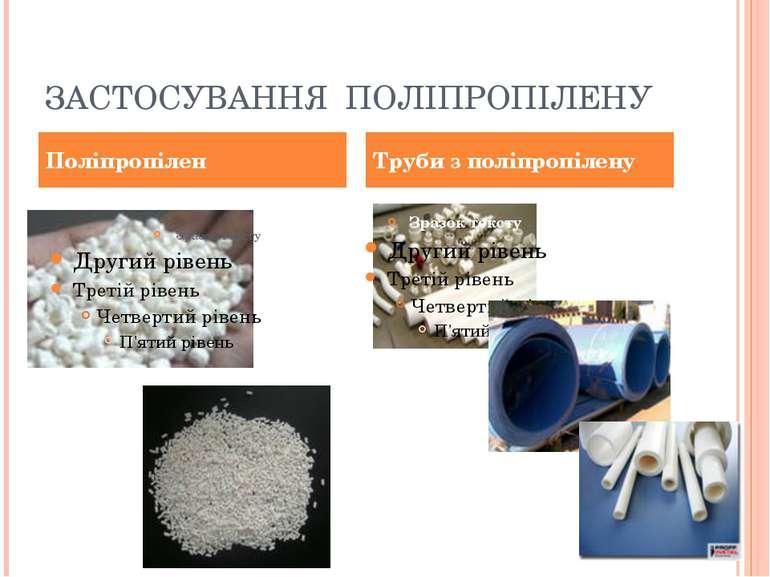 ЗАСТОСУВАННЯ ПОЛІПРОПІЛЕНУ Поліпропілен Труби з поліпропілену
