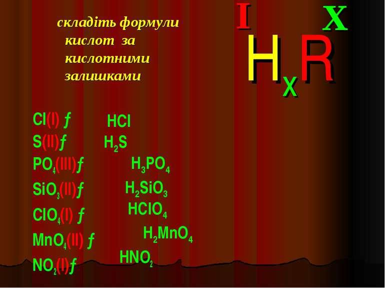 складіть формули кислот за кислотними залишками Cl(I) → S(II)→ PO4(III)→ SiO3...