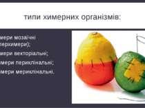 типи химерних організмів: химери мозаїчні (гіперхимери); химери векторіальні;...