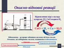 * Окисно-відновні реакції Відновлення міді з оксиду купруму (ІІ) CuO воднем Н...