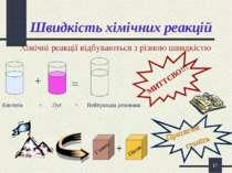 * Швидкість хімічних реакцій Хімічні реакції відбуваються з різною швидкістю ...