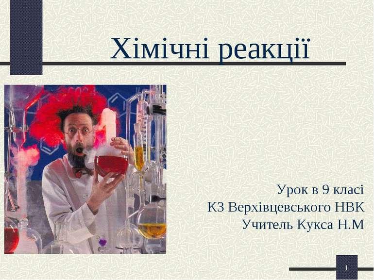 * Хімічні реакції Урок в 9 класі КЗ Верхівцевського НВК Учитель Кукса Н.М