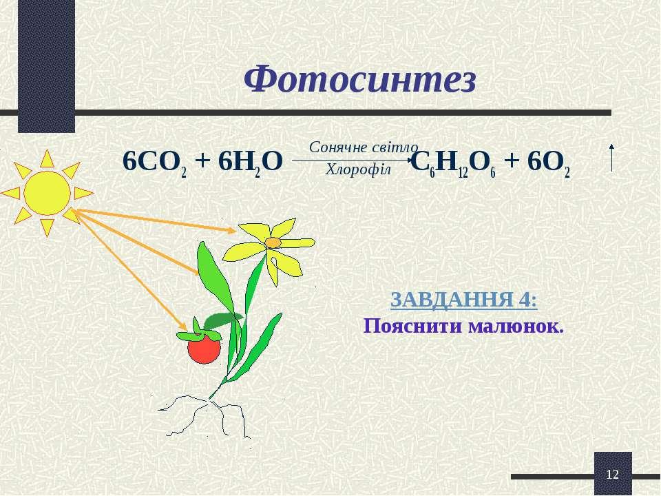 * Фотосинтез 6СО2 + 6Н2О С6Н12О6 + 6О2 Сонячне світло Хлорофіл ЗАВДАННЯ 4: По...