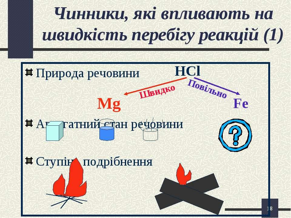 * Чинники, які впливають на швидкість перебігу реакцій (1) Природа речовини M...