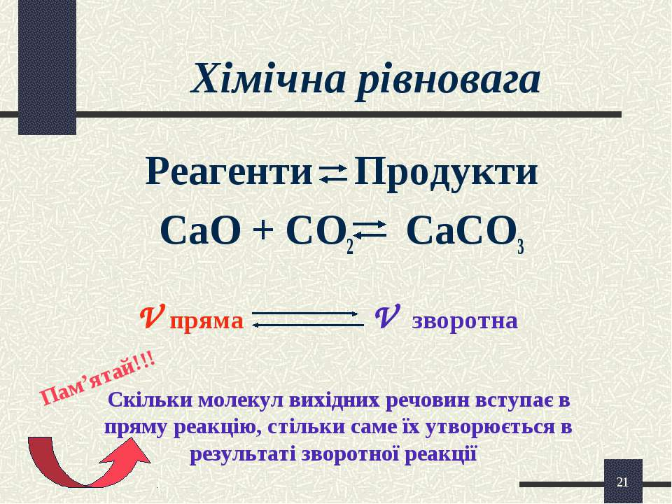 * Хімічна рівновага Реагенти Продукти CaO + CO2 CaCO3 V пряма V зворотна Скіл...