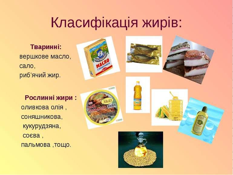 Класифікація жирів: Тваринні: вершкове масло, сало, риб'ячий жир. Рослинні жи...