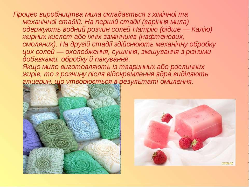 Процес виробництва мила складається з хімічної та механічної стадій. На перші...