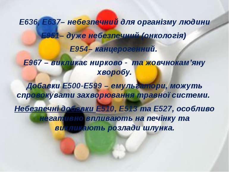 Е636, Е637– небезпечний для організму людини Е951– дуже небезпечний (онкологі...