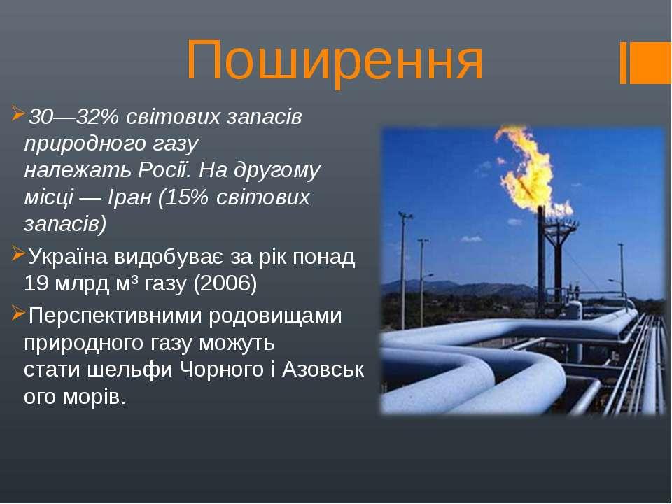 Поширення 30—32% світових запасів природного газу належатьРосії. На другому ...