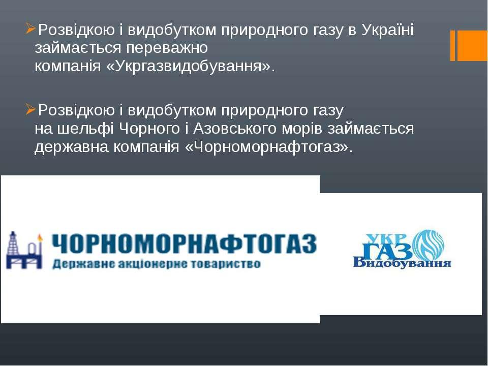 Розвідкою і видобутком природного газу в Україні займається переважно компані...
