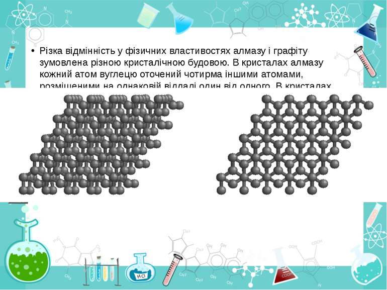 Різка відмінність у фізичних властивостях алмазу і графіту зумовлена різною к...