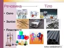 Речовина Тіло Скло Залізо Пластмаса kuksa-natalija@mail.ru