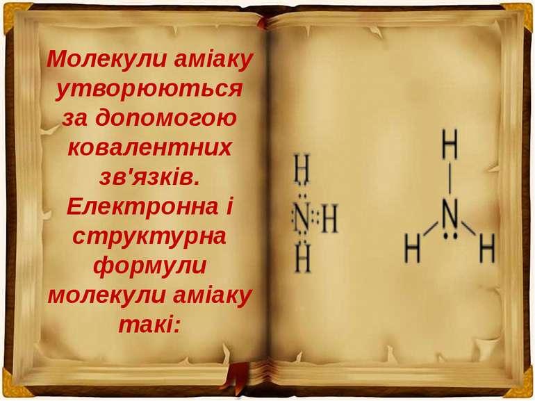 Молекули аміаку утворюються за допомогою ковалентних зв'язків. Електронна і с...